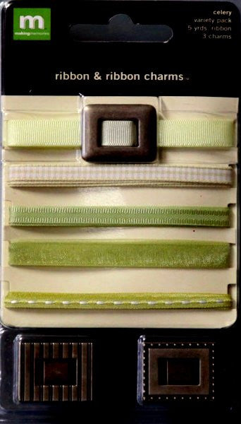 Making Memories Celery Ribbon & Ribbon Charms - SCRAPBOOKFARE
