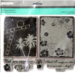 TPC Studio Summer Collage Rubber Cling Stamps