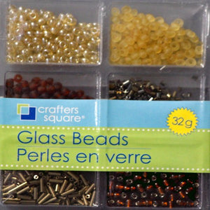 Crafters Square 32g Shades Of Cream & Brown Glass Beads Set - SCRAPBOOKFARE