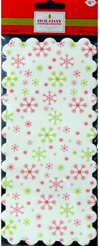 Holiday Inspirations Retangular Scalloped Red And Green Snowflakes Tin Liners Paper Doilies - SCRAPBOOKFARE