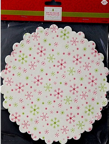 Holiday Inspirations Medium Round Scalloped Red And Green Snowflakes Tin Liners Paper Doilies - SCRAPBOOKFARE