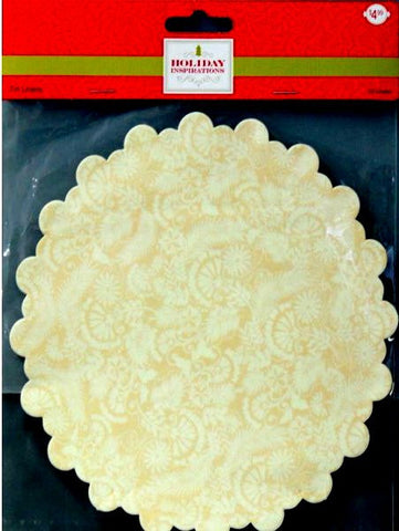 Holiday Inspirations Small Round Scalloped Yellow Floral Tin Liners Paper Doilies - SCRAPBOOKFARE