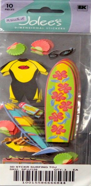 A Touch Of Jolee's Surfing Dimensional Stickers - SCRAPBOOKFARE