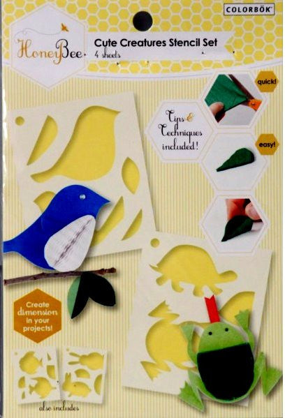 Colorbok Cute Creatures Animals Stencils - SCRAPBOOKFARE