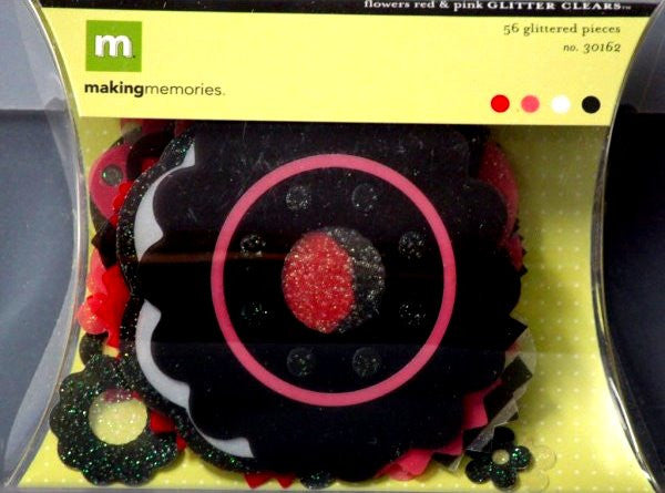 Making Memories Clear Glitter Red And Pink Flowers - SCRAPBOOKFARE