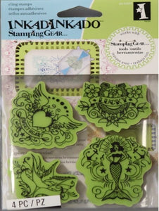 Inkadinkado Vintage Tattoos Cling Stamp Set - SCRAPBOOKFARE