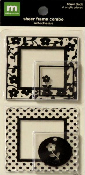 Making Memories Sheer Black Flower Self-Adhesive Frames Combo - SCRAPBOOKFARE