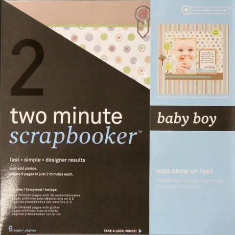 Autumn Leaves 12 x 12 Two Minute Scrapbooker Baby Boy Pages Kit - SCRAPBOOKFARE