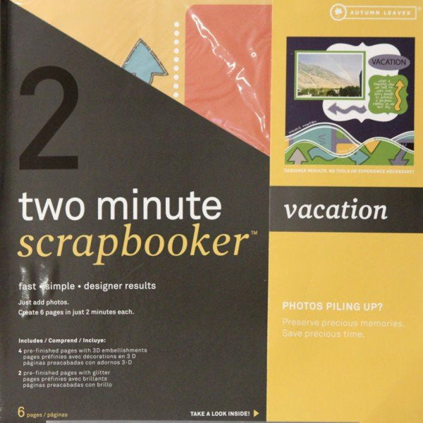 Autumn Leaves 12 x 12 Two Minute Scrapbooker Vacation Pages Kit - SCRAPBOOKFARE