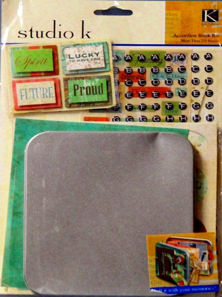 K & Company Studio K Breeze Mini Accordion Book With Metal Tin Scrapbook Kit - SCRAPBOOKFARE