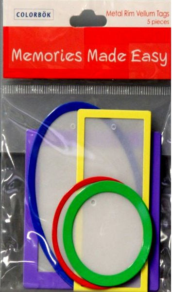 Colorbok Memories Made Easy Primary Metal Rim Tags - SCRAPBOOKFARE