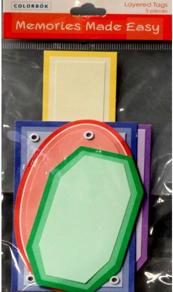 Colorbok Memories Made Easy Primary Layered Tags - SCRAPBOOKFARE