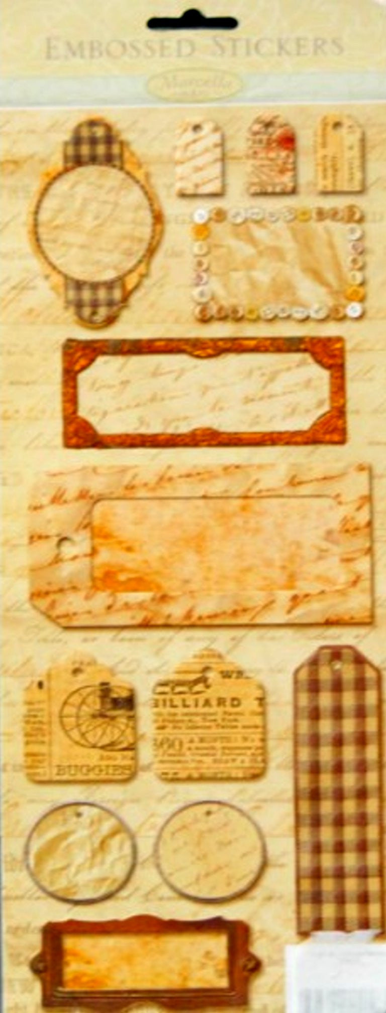 K & Company Marcella K Script Embossed Tags Stickers - SCRAPBOOKFARE