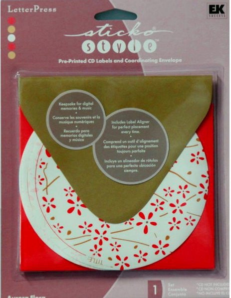 Sticko Style Letterpress Aurora Flora Pre-printed CD Labels And Coordinating Envelope