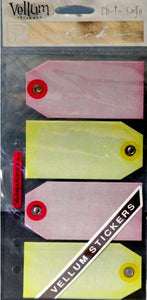 EK Success Sticko Pink & Yellow Vellum Tags Scrapbook Stickers - SCRAPBOOKFARE