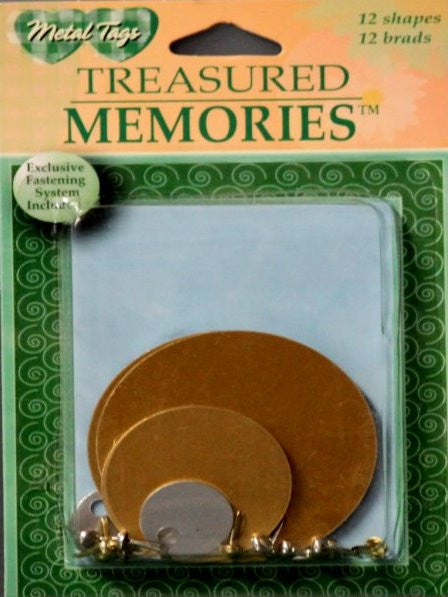 Treasured Memories Silver & Copper Circles Tags With Brads