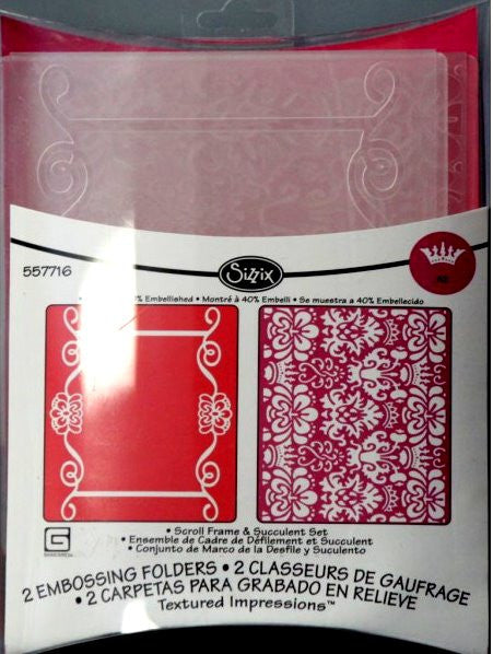 Sizzix Scroll Frame & Succulent Embossing Folders Set