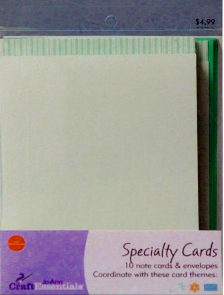 JoAnn Craft Essentials Aqua Striped Edge Specialty Note Cards - SCRAPBOOKFARE