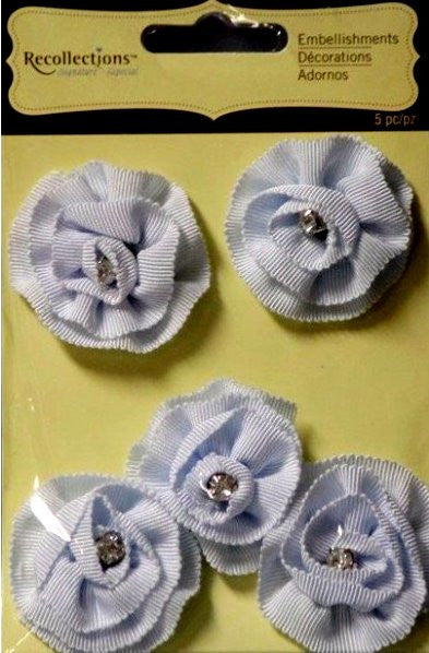 Recollections Signature Special Blue Ribbon Rhinestone Flowers Embellishments - SCRAPBOOKFARE