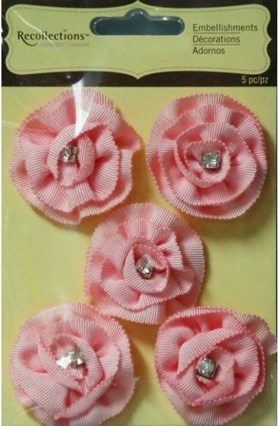 Recollections Signature Special Pink Ribbon Rhinestone Flowers Embellishments - SCRAPBOOKFARE