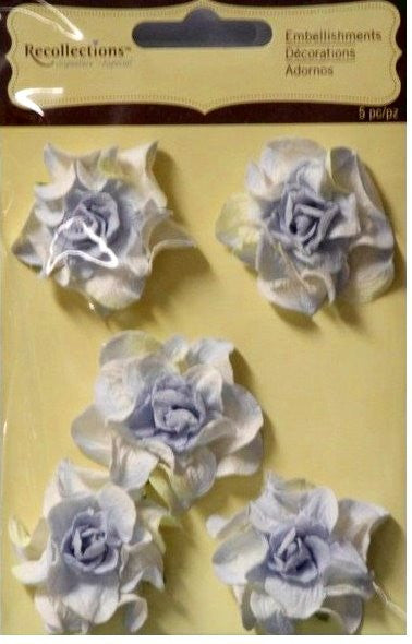 Recollections Signature Special Blue Paper Flowers Embellishments - SCRAPBOOKFARE