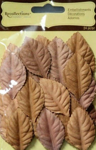 Recollections Signature Special Brown Paper Leaves Embellishments - SCRAPBOOKFARE