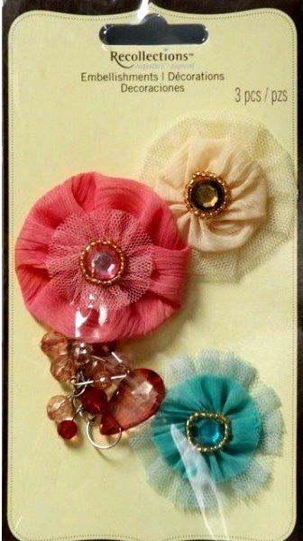 Recollections Signature Special Multi Color Tulle & Gems Flowers Embellishments - SCRAPBOOKFARE