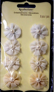 Recollections Signature Special Shades Of Cream Organza Flowers With Pearls Embellishments - SCRAPBOOKFARE