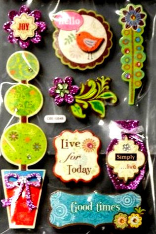 Special Moments Nature Dimensional Gem Chipboard Embellishments Stickers