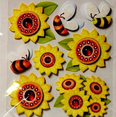 Special Moments Dimensional Gem Bees & Flowers Embellishments Stickers