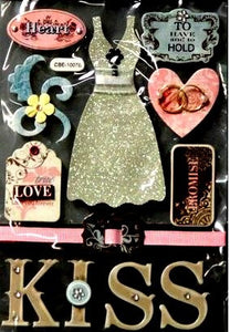Miss Elizabeth's Premium Wedding And Love Chipboard Dimensional Stickers Embellishments - SCRAPBOOKFARE