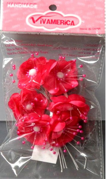 Vivamerica Hot Pink Organza & Satin Flowers Embellishments