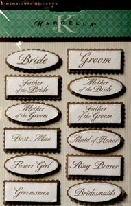 K & Company Marcella K Wedding Titles Dimensional Stickers - SCRAPBOOKFARE