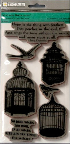 TPC Studio Vintage Bird Cages Rubber Cling Stamps