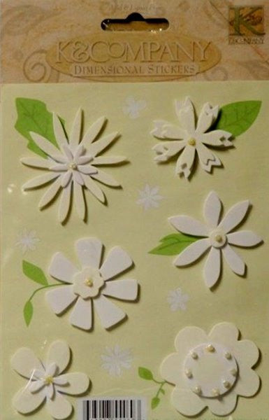 K & Company White Graphic Flower Dimensional Stickers - SCRAPBOOKFARE