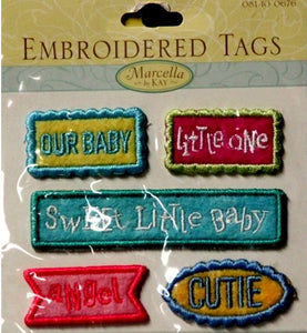 K & Company Marcella K Embroidered Tags Baby Words - SCRAPBOOKFARE