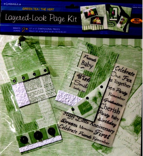 Westrim Crafts Paper Bliss Timeless Elements Green Tea Layered-Look Page Kit