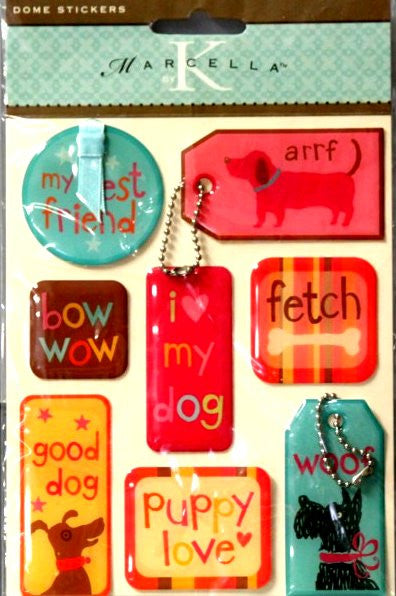 K & Company Marcella K Dogs Tags Dome Epoxy Stickers - SCRAPBOOKFARE
