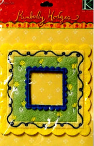 K & Company Kimberly Hodges Yellow Flowers Fabric Art Frame Embellishment - SCRAPBOOKFARE