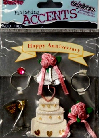 Darice Finishing Accents Happy Anniversary Dimensional Stickers - SCRAPBOOKFARE