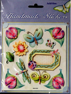 Forever Beautiful Handmade Botanical Flowers & Insects Dimensional Scrapbook Stickers - SCRAPBOOKFARE