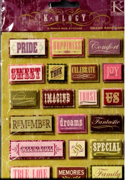 K & Company K-OLOGY A Whole New Attitude Words Grand Adhesions Dimensional Stickers - SCRAPBOOKFARE