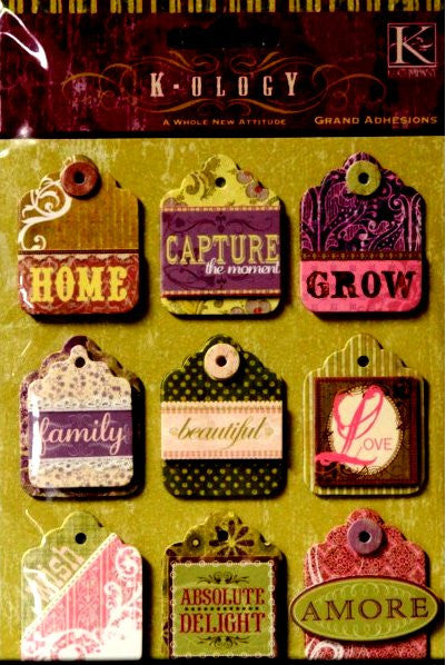 K & Company K-OLOGY Grand Adhesions Dimensional Whole New Attitude Tags Stickers - SCRAPBOOKFARE