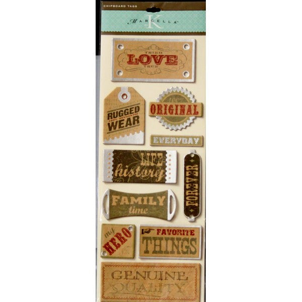 K & Company Marcella K Well Worn Chip Back Tags Adhesive Stickers - SCRAPBOOKFARE