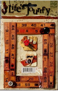 K & Company Life's Journey Ruler Frame & Tags Grand Adhesions Dimensional Stickers - SCRAPBOOKFARE