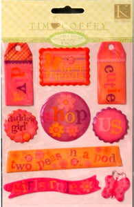 K & Company Tim Coffey TC Young Girl Clearly Yours Epoxy Stickers - SCRAPBOOKFARE