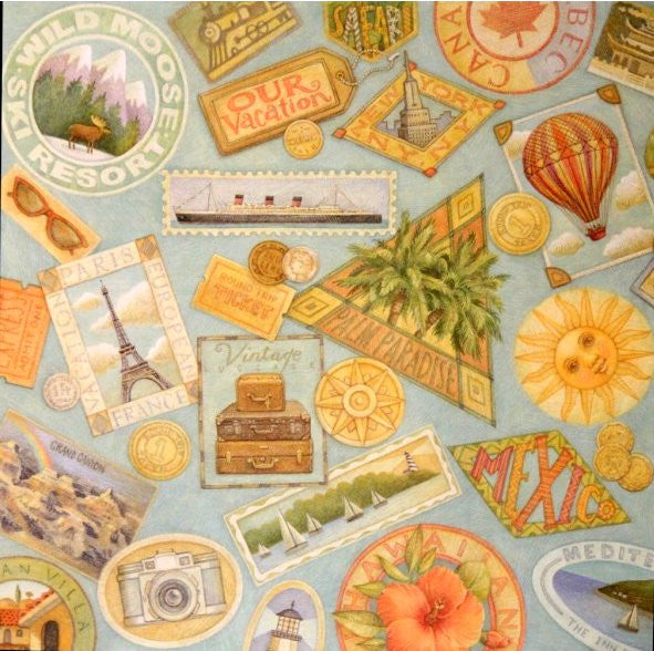 K & Company Tim Coffey 12 x 12 TC Vacation Artwork Printed Flat Scrapbook Paper - SCRAPBOOKFARE