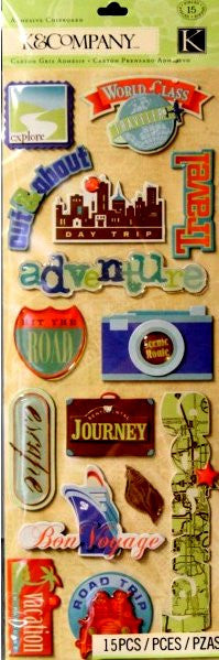 K & Company Sea Glass Travel Adhesive Chipboard Stickers Embellishments - SCRAPBOOKFARE