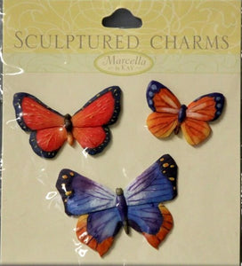 K & Company Marcella K Butterfly Sculptured Charms Stickers - SCRAPBOOKFARE