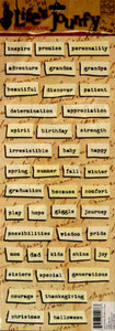 K & Company Life's Journey Words On Paper Strips Embossed Stickers - SCRAPBOOKFARE